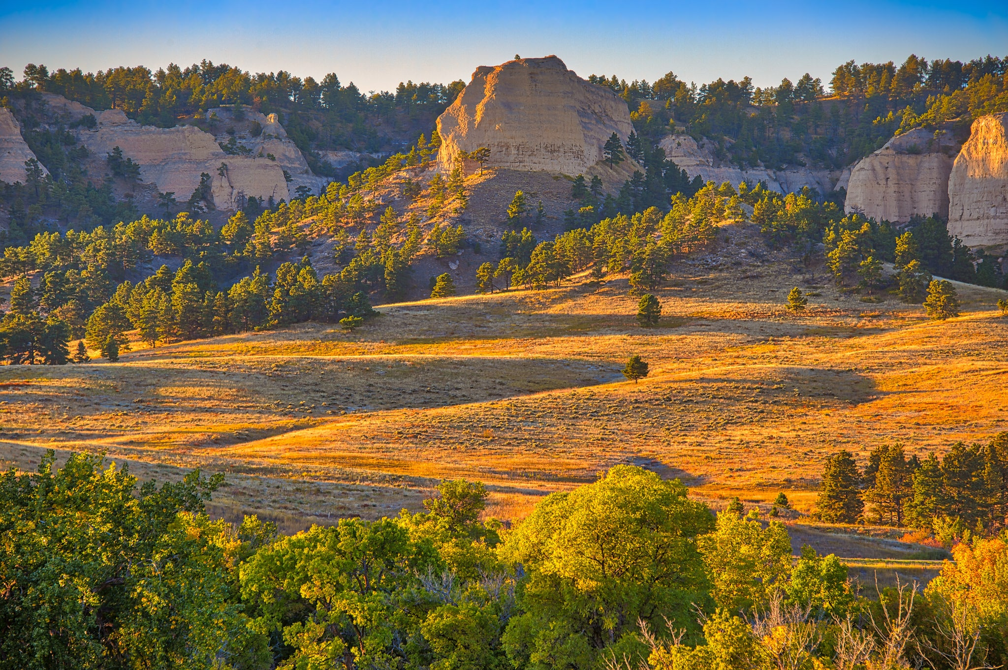 Red Cloud Buttes catch the afternoon sun on an autumn afternoon in Fort Robinson State Park, Nebraska.