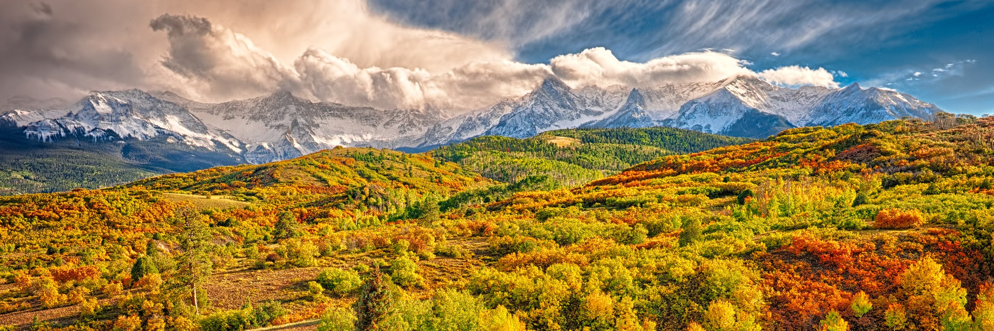 View autumn color below the Sneffles Range near the Dallas Divide on Colorado Highway 62 near Ridgeway, Colorado.