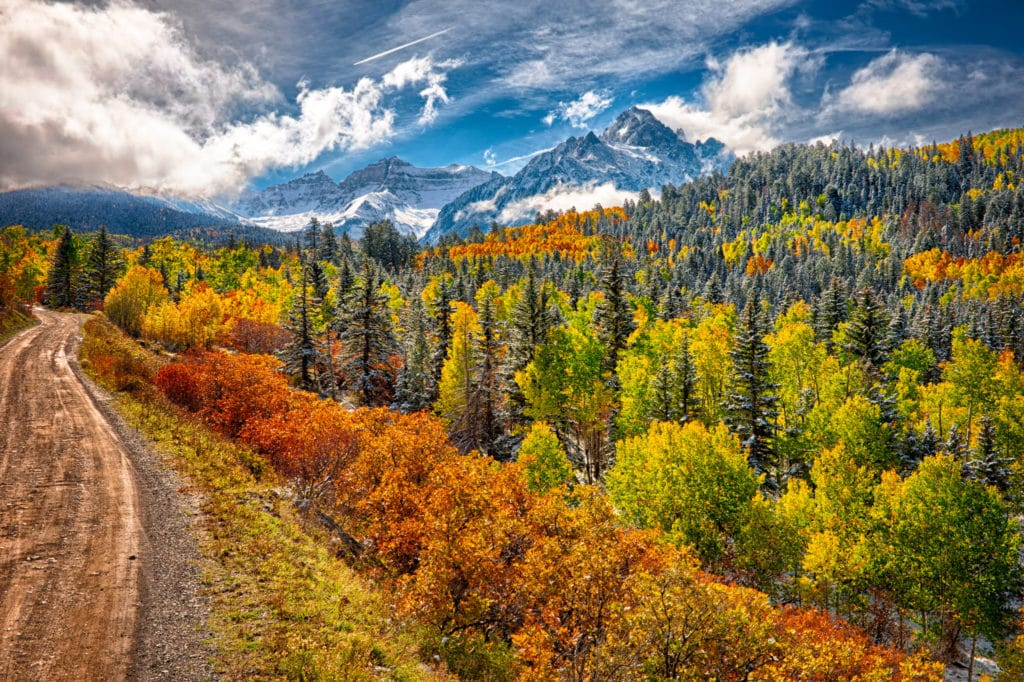 Colorful aspens and Gambel oaks treat the eye along CR 7 near Ridgway, Colorado, with the snow-capped mountains of the Sneffels Wilderness in the distance.