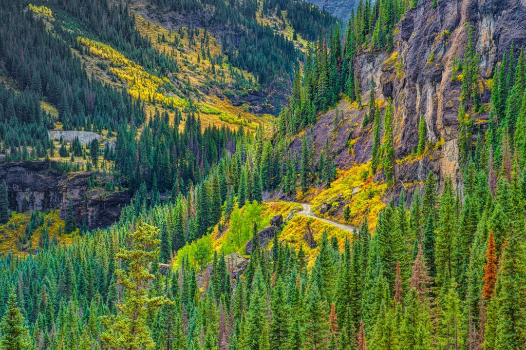 View along Yankee Boy Basin Road, near Ouray, Colorado.