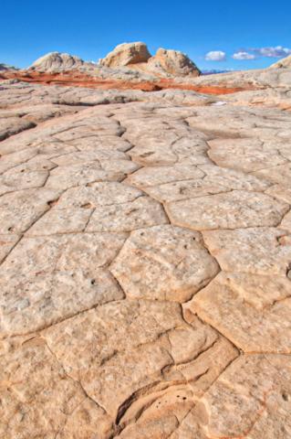 The Navajo Sandstone in White Pocket shows polygonal jointing.