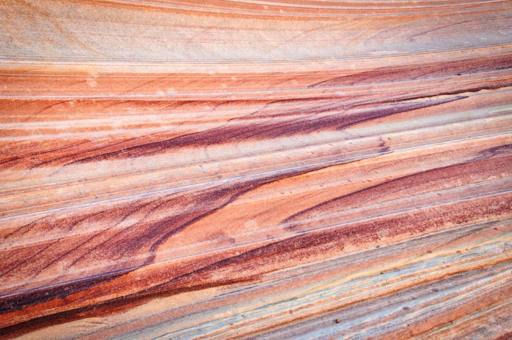 Cross-bedding detail of the Navajo Sandstone in The Wave in Nothern Coyote Buttes, part of the Vermillion Cliffs National Monument.