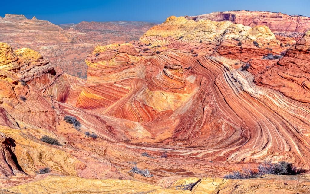 Overview of The Wave in the North Coyote Buttes area of the Vermillion Cliffs National Monument.