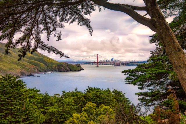 This view of the Golden Gate Bridge was taken in April from the Marin Headlands, across the Bay from San Francisco, California.