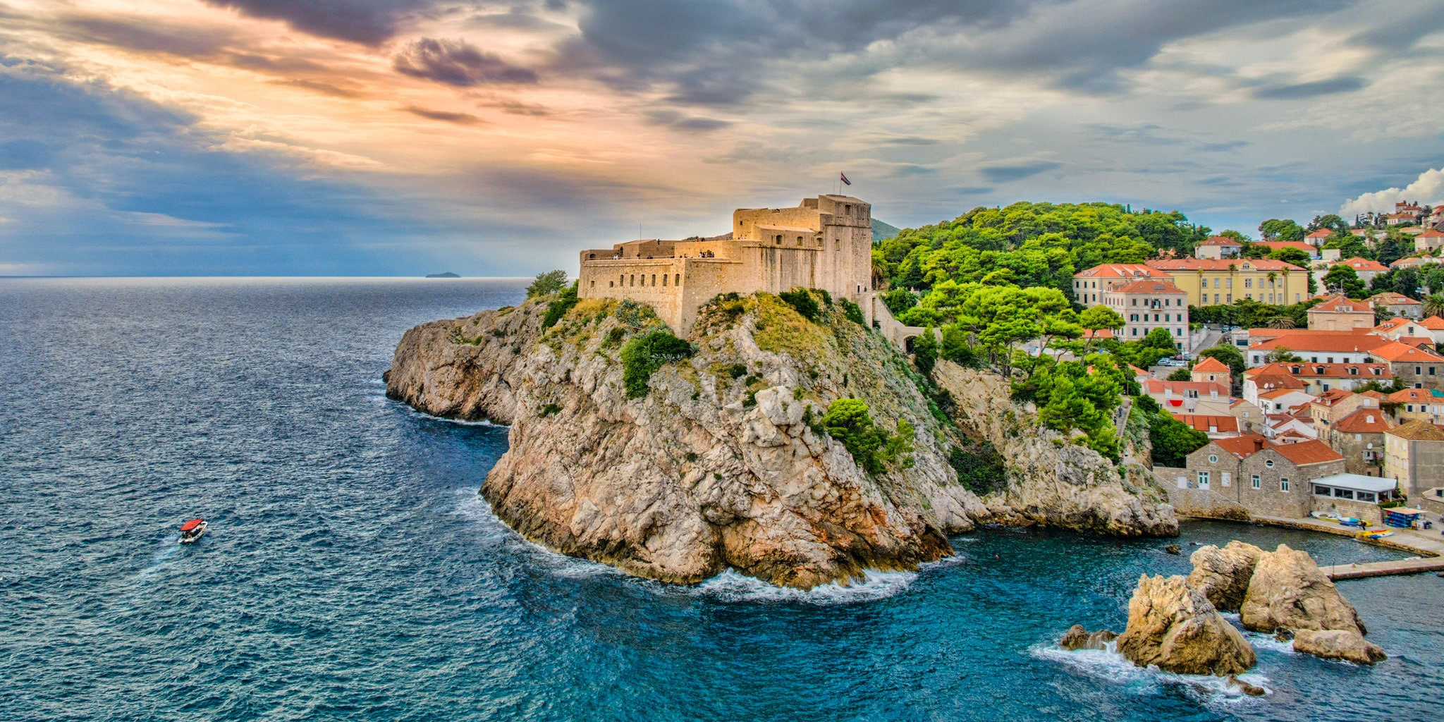Lovrijenac Fortress in Dubrovnik as seen from the city walls near Tower Bokar in the Old City of Dubovnik in Croatia.