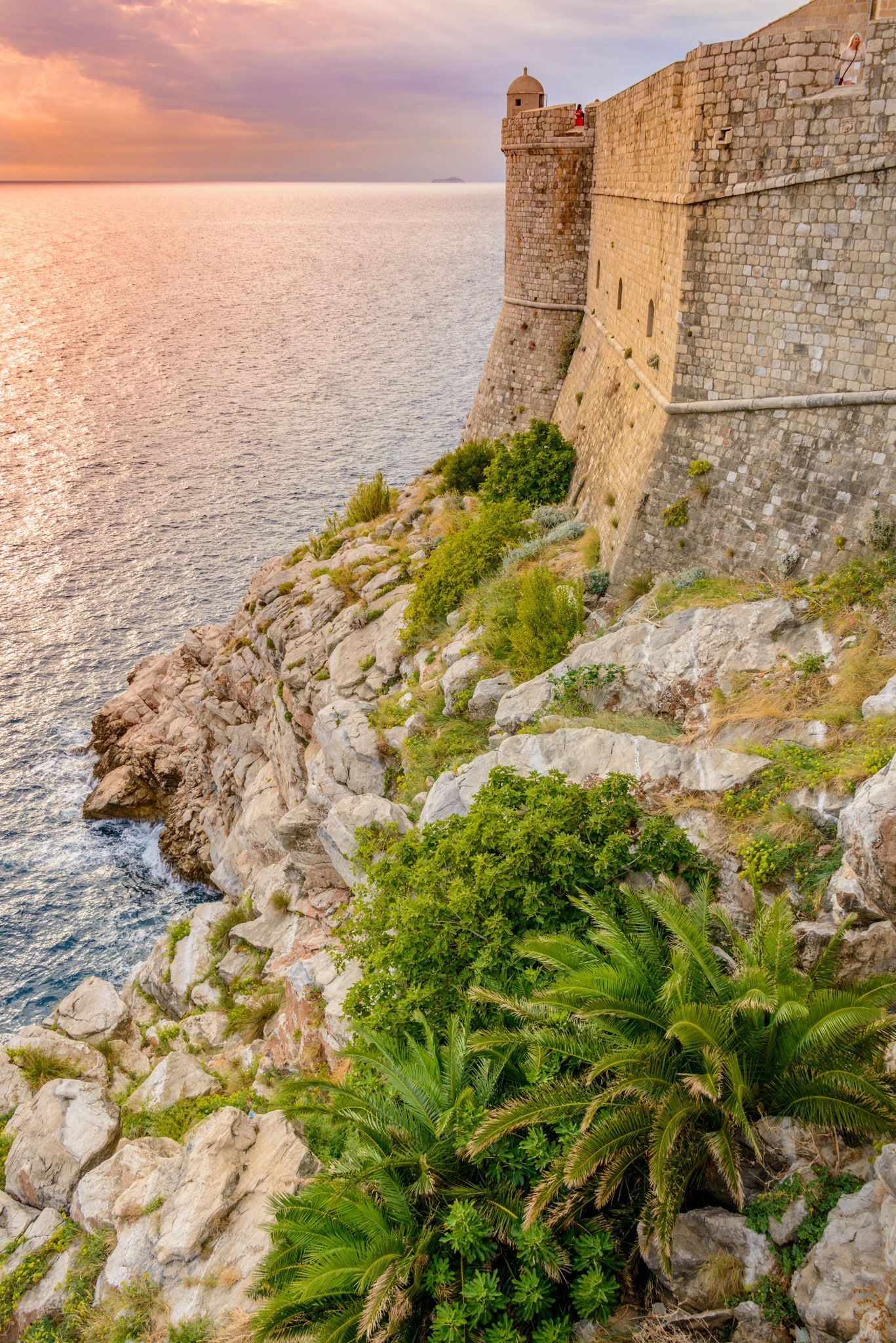 A view of the Dubrovnik Old City wall taken from the city wall between St. Petar's and St. Margarita's churches