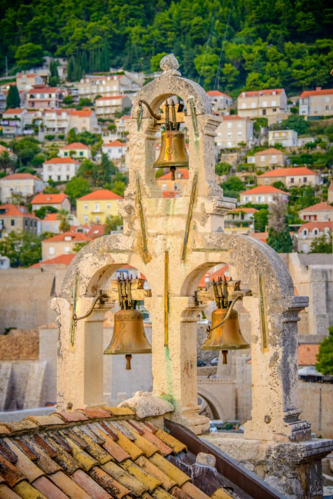 The bells of Notre-Dame of Kamen as seen from the wall surrounding Dubrovnik Old City in Croatia.