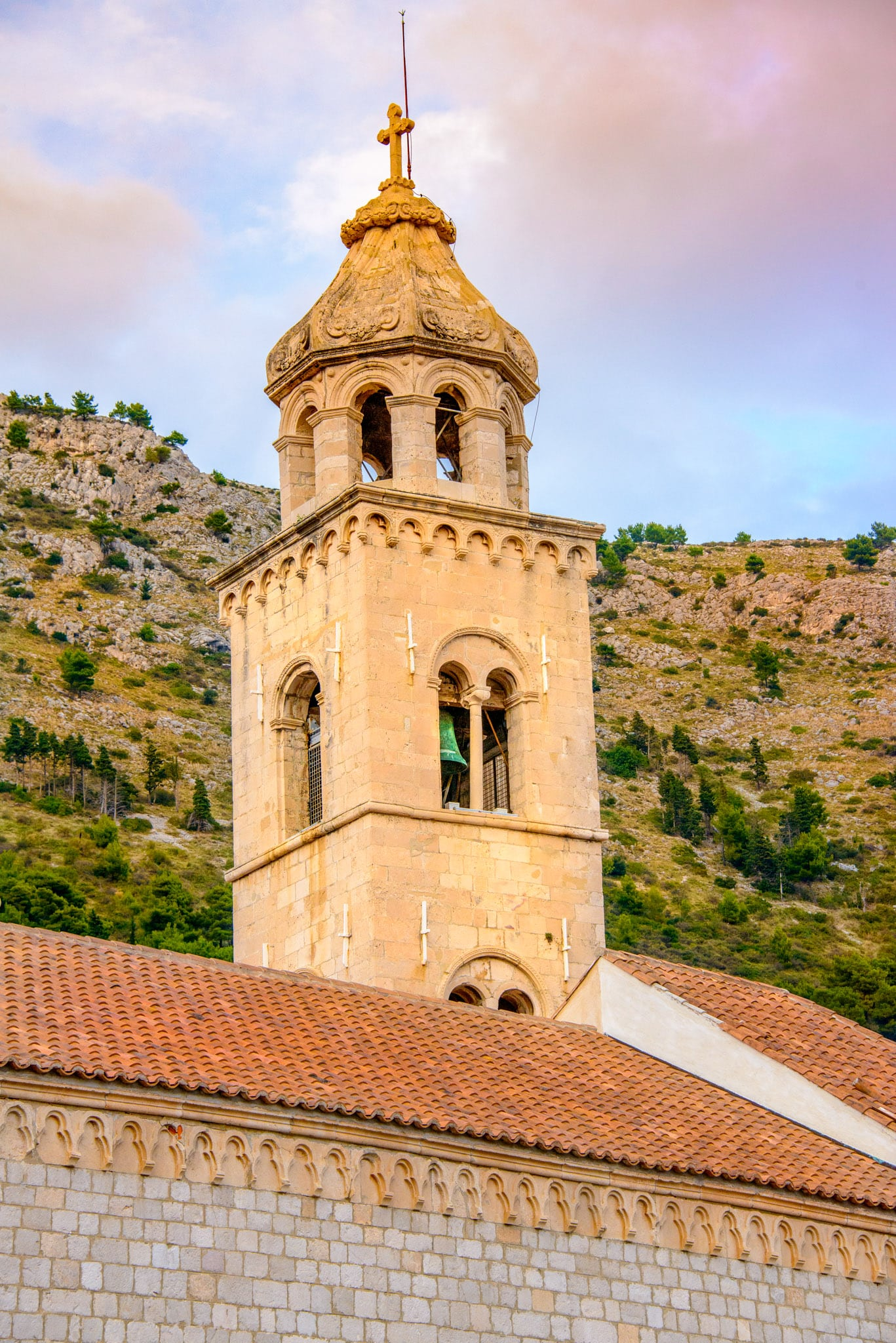 The bell tower of the Dominican Church and Monastery in Dubrovnik Old City in Croatia.