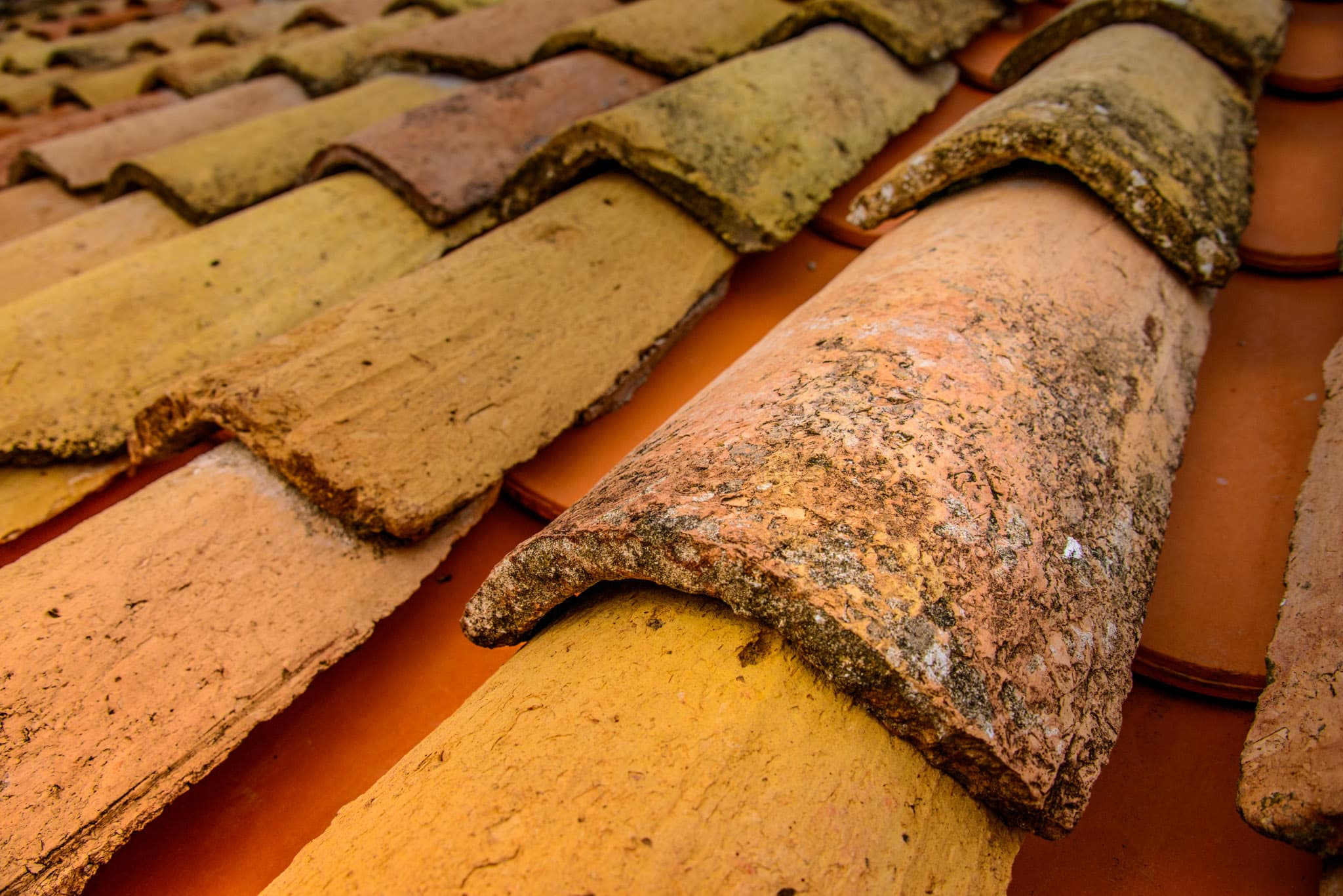 A close-up shot of red roof tiles taken from the wall surrounding Dubrovnik Old City in Croatia.