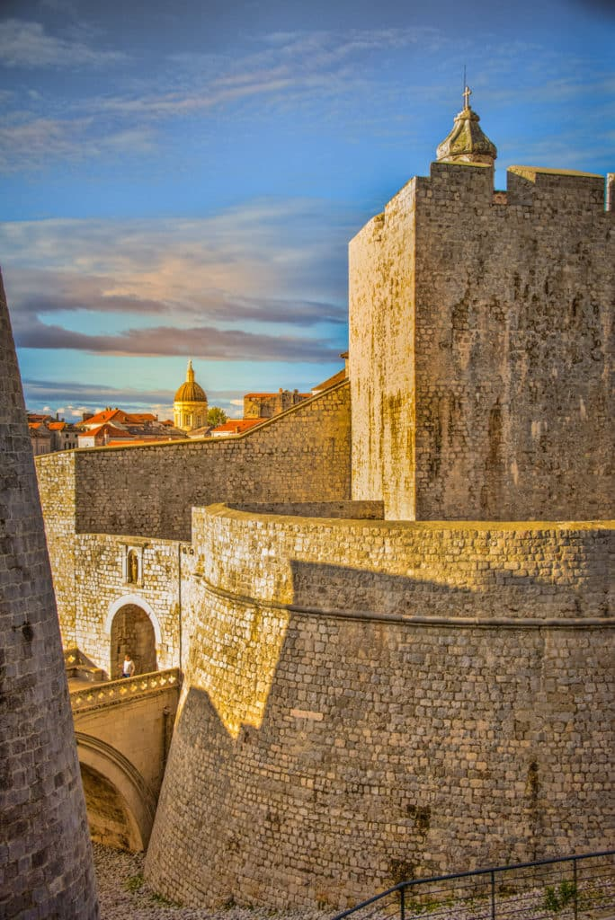 A view of the Ploče gate and Dubrovnik Cathedral as seen from the city wall of Dubrovnik Old Town in Croatia.