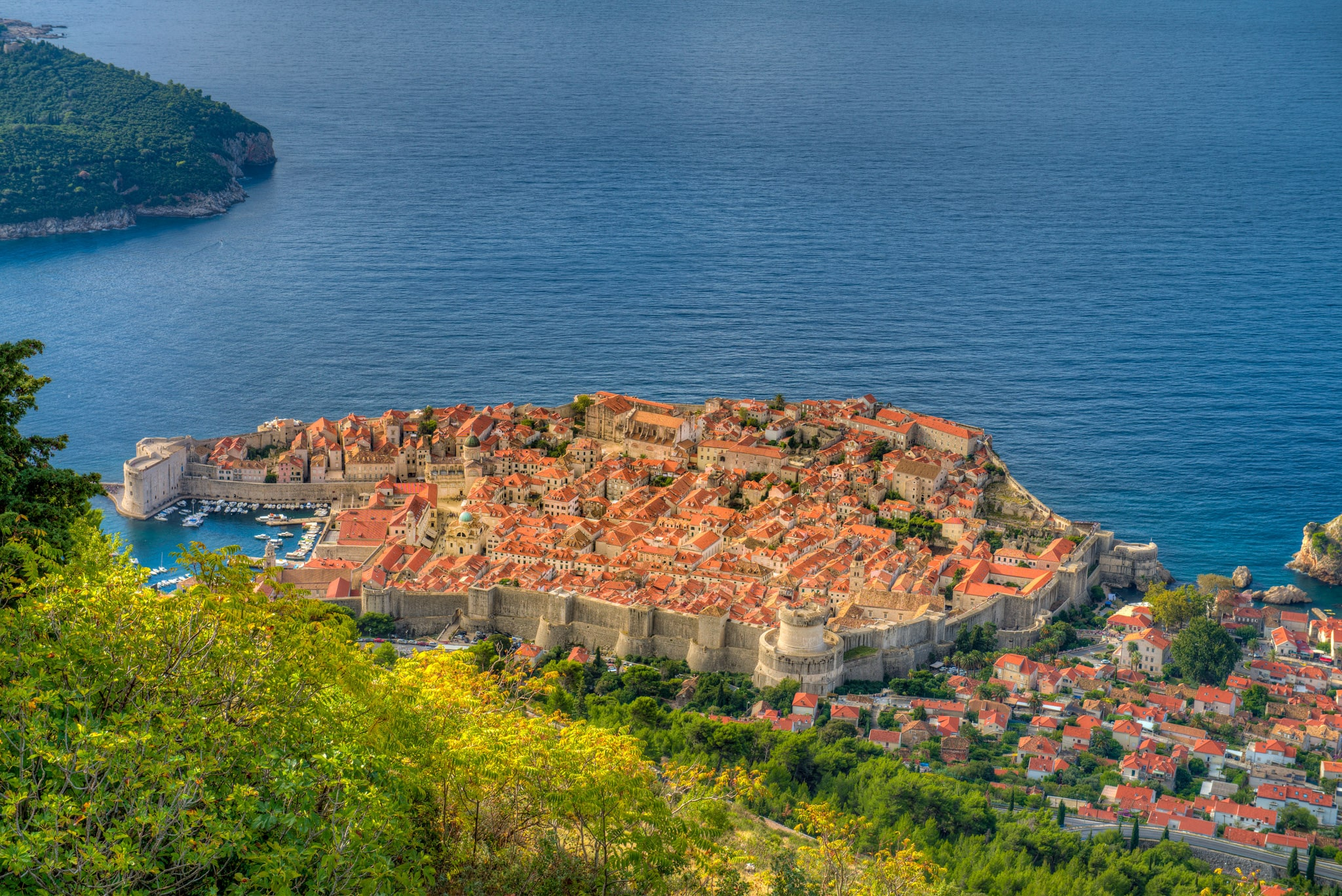 A view of Dubrovnik Old Town and its surrounding walls taken from Mount Srdj in Croatia.