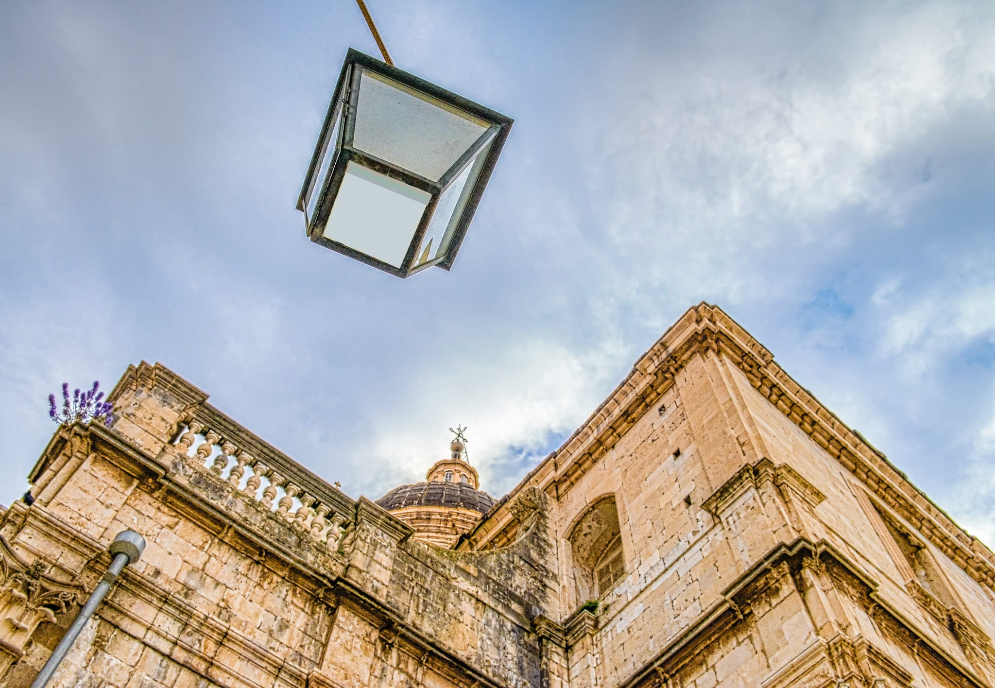 Looking up at Dubrovnik Cathedral from street level in Dubrovnik Old Town in Croatia.