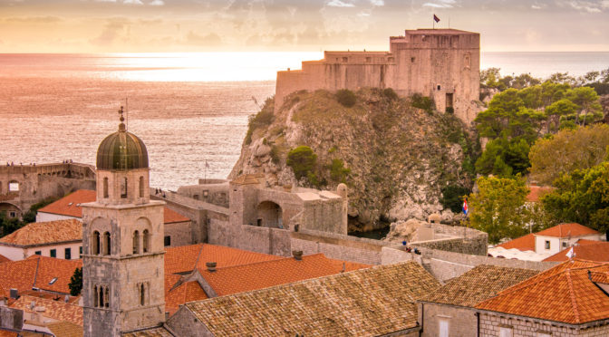 Lovrijenac Fortress and the bell tower of the Franciscan Monastery at sunset as viewed from the Dubrovnik Old Town wall. From Dubrovnik photographs album.