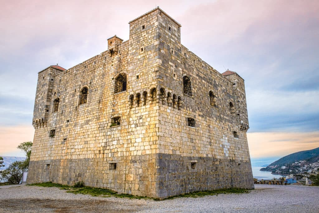 A close-up view of the Nihaj Fortress, built in the 16th Century on the hill if the same name, near the northern Dalmatian city of Senj in Croatia.