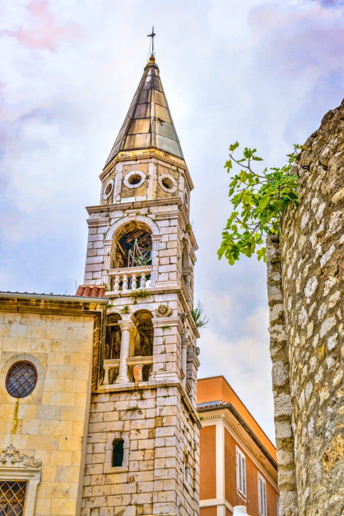 A view looking up at the bell tower of the Church of St. Elijah the Prophet in Zadar, Croatia.