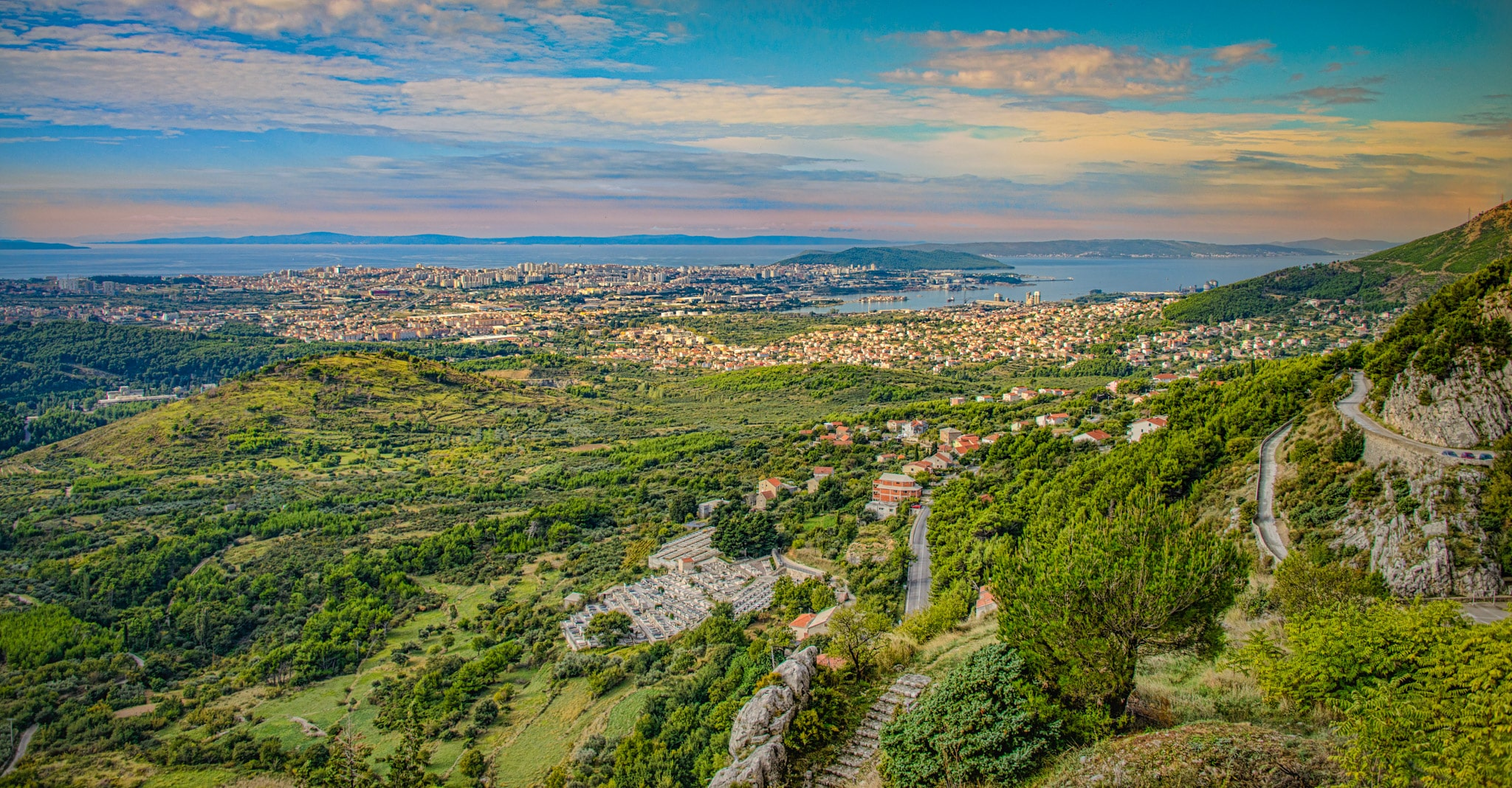 A view of the Croatian city of Split on the Adriatic from high atop Klis Fortress.