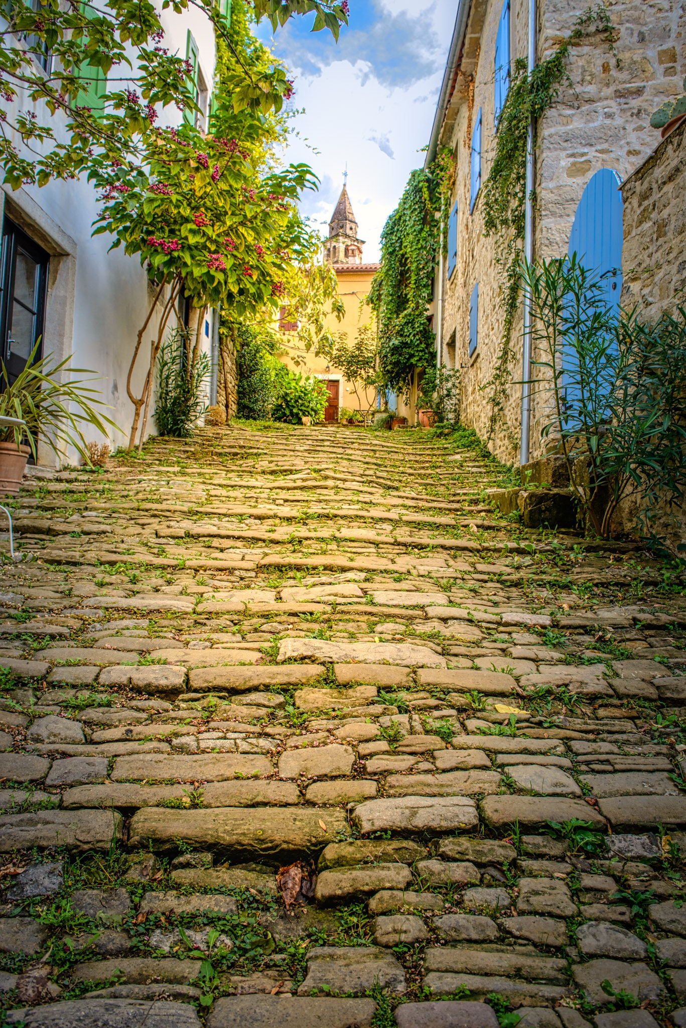 Looking up a stone paved street in the Medieval Istrian village of Motovun in Croatia.
