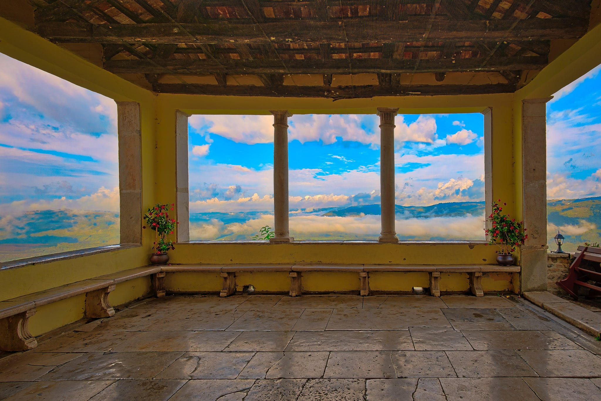 Looking out at the clouds from the Pod Voltom terrace in the Medieval Istrian village of Motovun, Croatia.