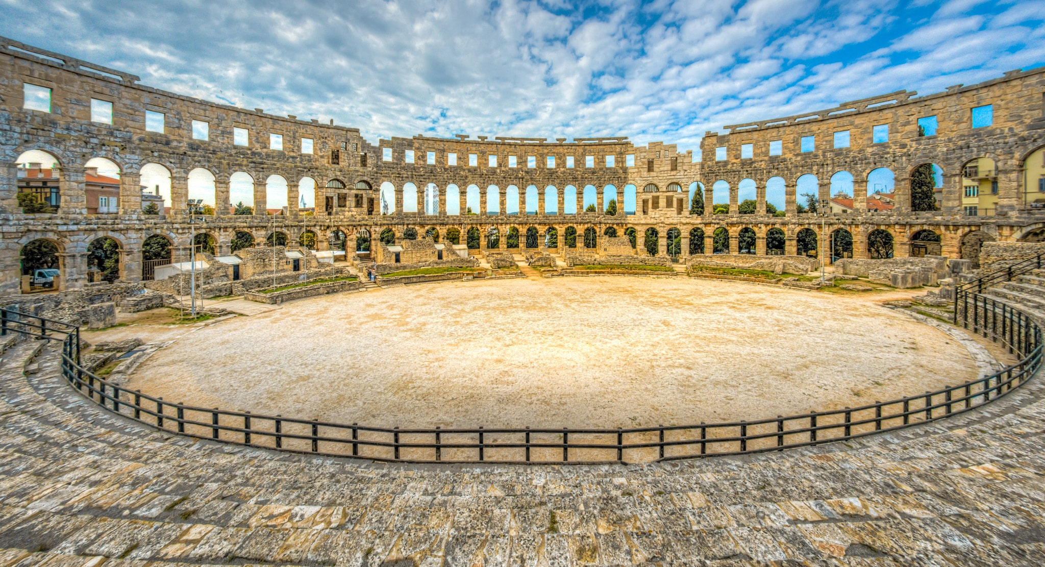 An interior view of the Pula Arena in the Istrian city of Pula, Croatia, constructed between 27 BC and 68 AD by Emperor Vespasian.