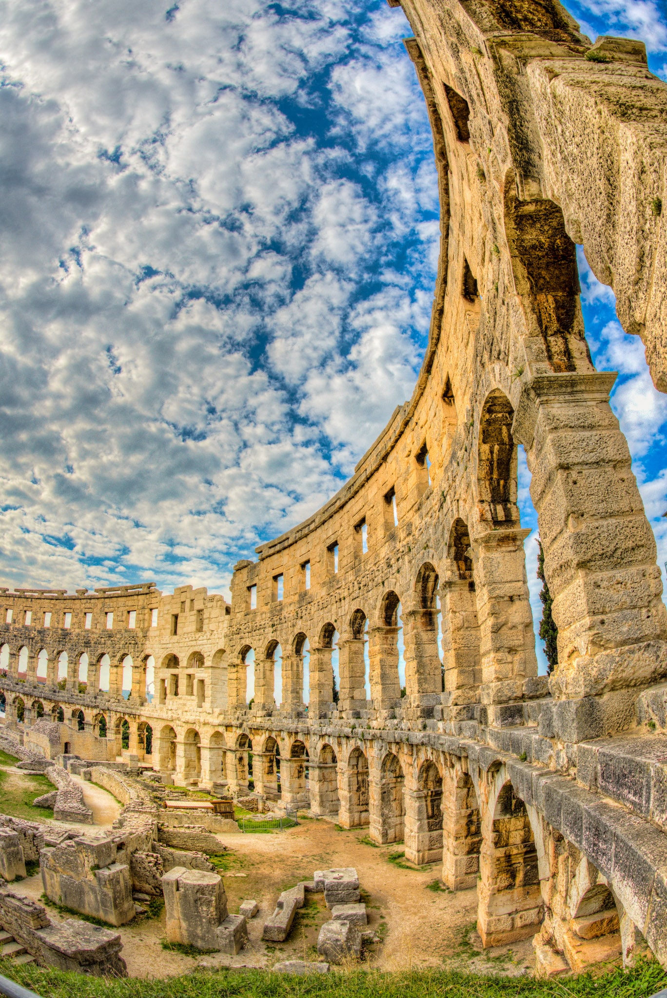 All three orders of Roman architecture are represented in this view of the walls of the Roman amphitheater in the Istrian city of Pula, Croatia.