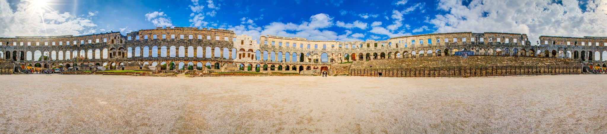 This is a 360-degree view of Pula Arena, one of the best preserved Roam Amphitheaters in the world. It is located in the Istrian city of Pula, Croatia.