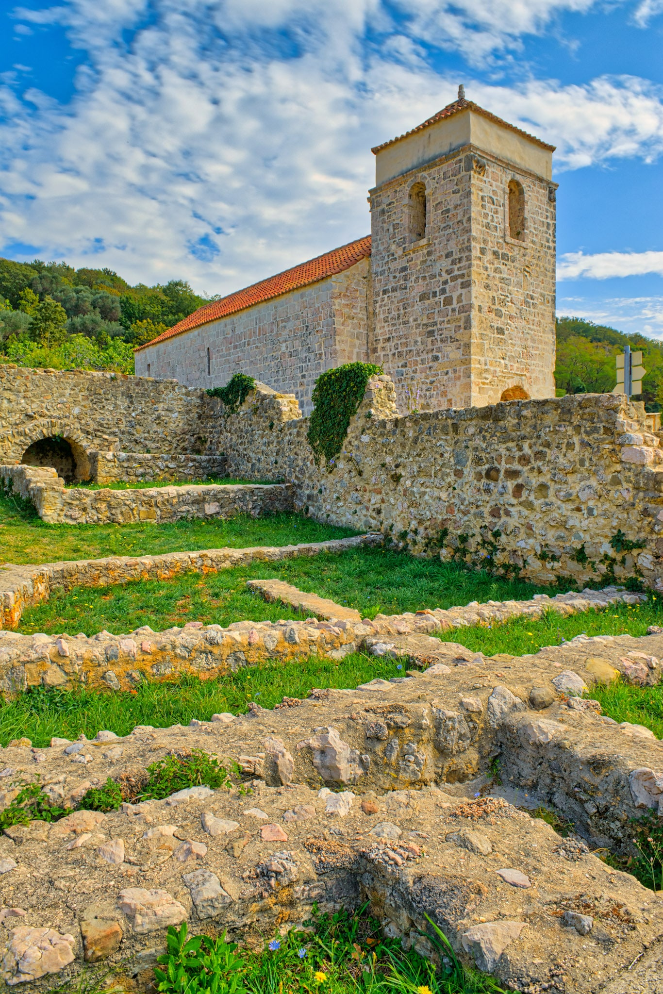 The Church of St. Lucy sits next to the ruins of a monastery near Baska on the island of Krk, Croatia.