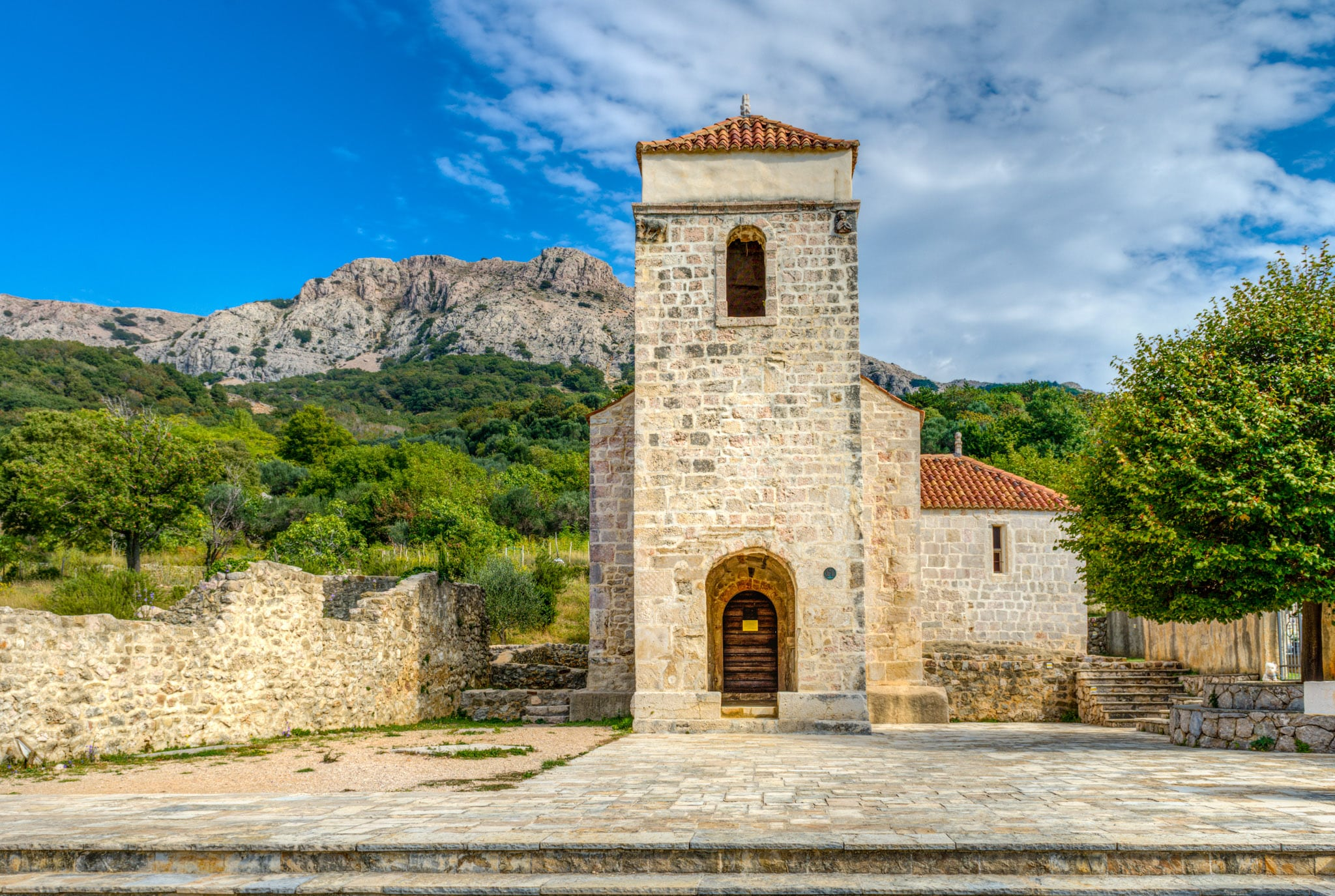 The front View of the Church of St. Lucy near Baska on the island of Krk in Croatia.