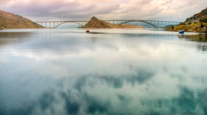 The Krk Bridge connects the mainland of Croatia to the island of Krk. From Krk Island Croatia Photographs.