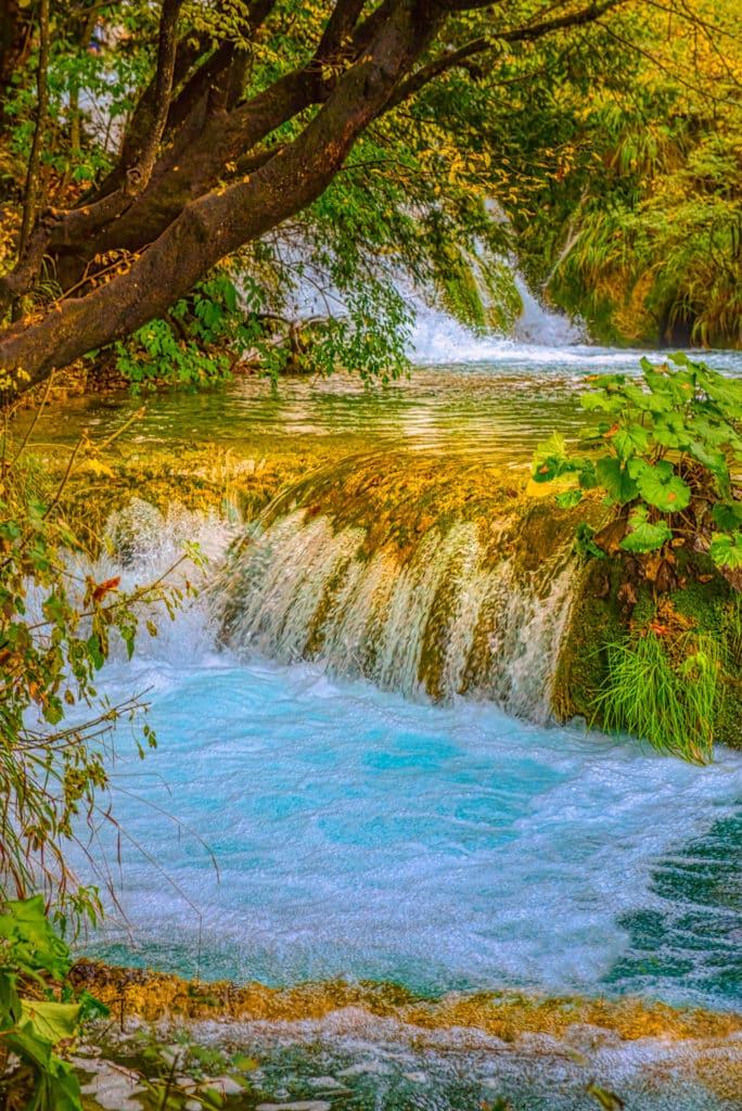 Stair-step falls run between Lakes Gavanovac and Kaluderovac in Plitvice Lakes National Park in Croatia.