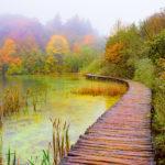 A boardwalk follows the shore of Lake Proscansko in Plitvice Lakes National Park in Croatia. From the Plitvice Lakes National Park photographs album.