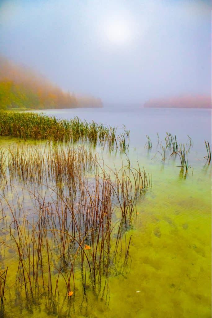 A foggy autumn morning on Lake Ciginovac in Plitvice Lakes National Park in Croatia.