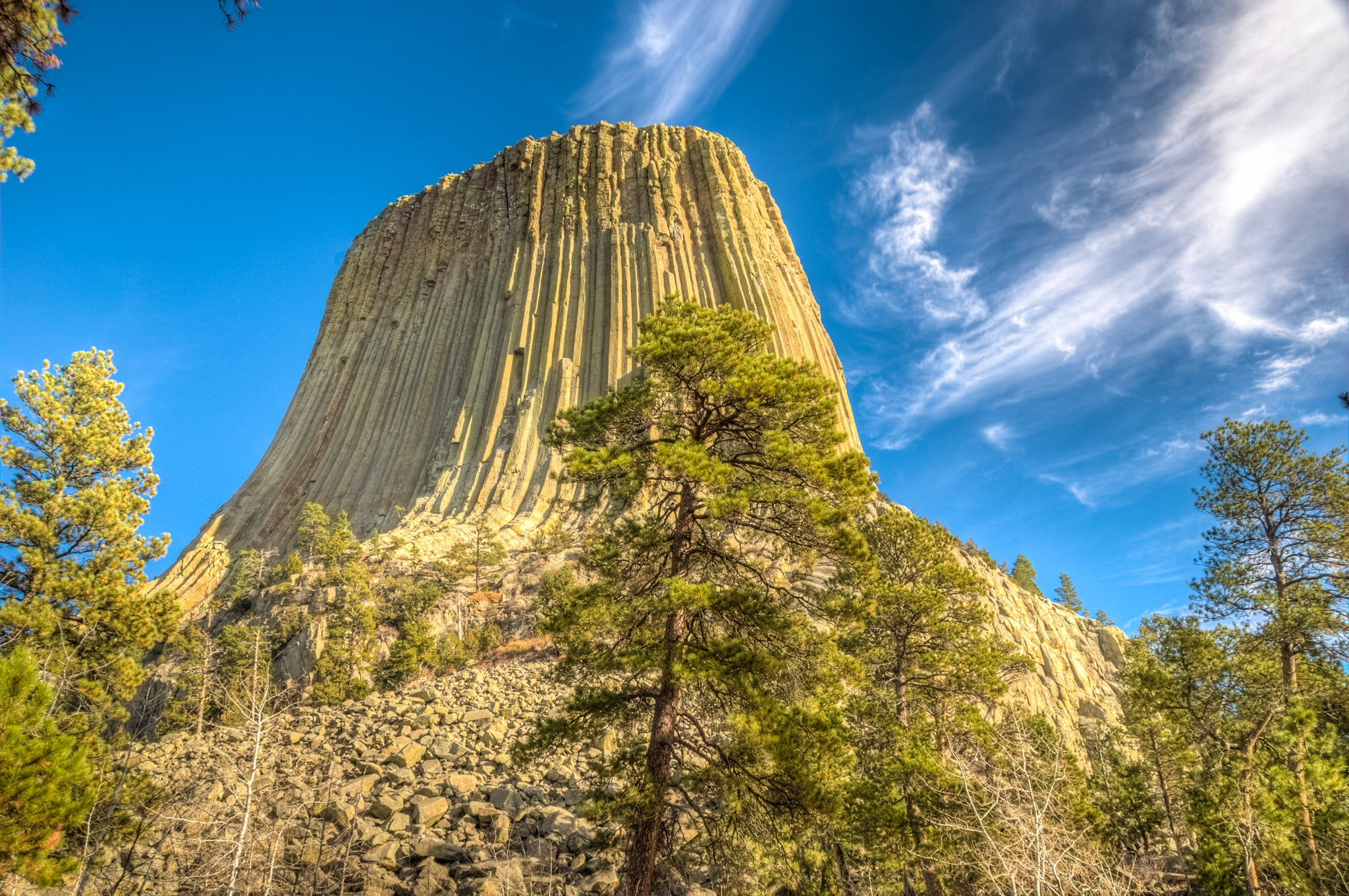 Looking up at Devils Tower, the first National Monument.