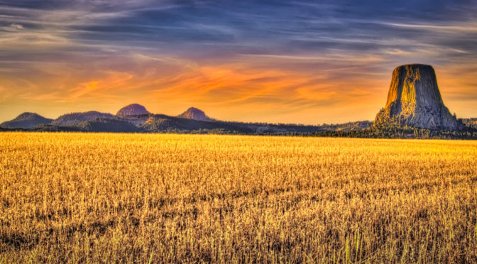 A view of Devils Tower from a field to the north of Devils Tower National Monument in Wyoming.