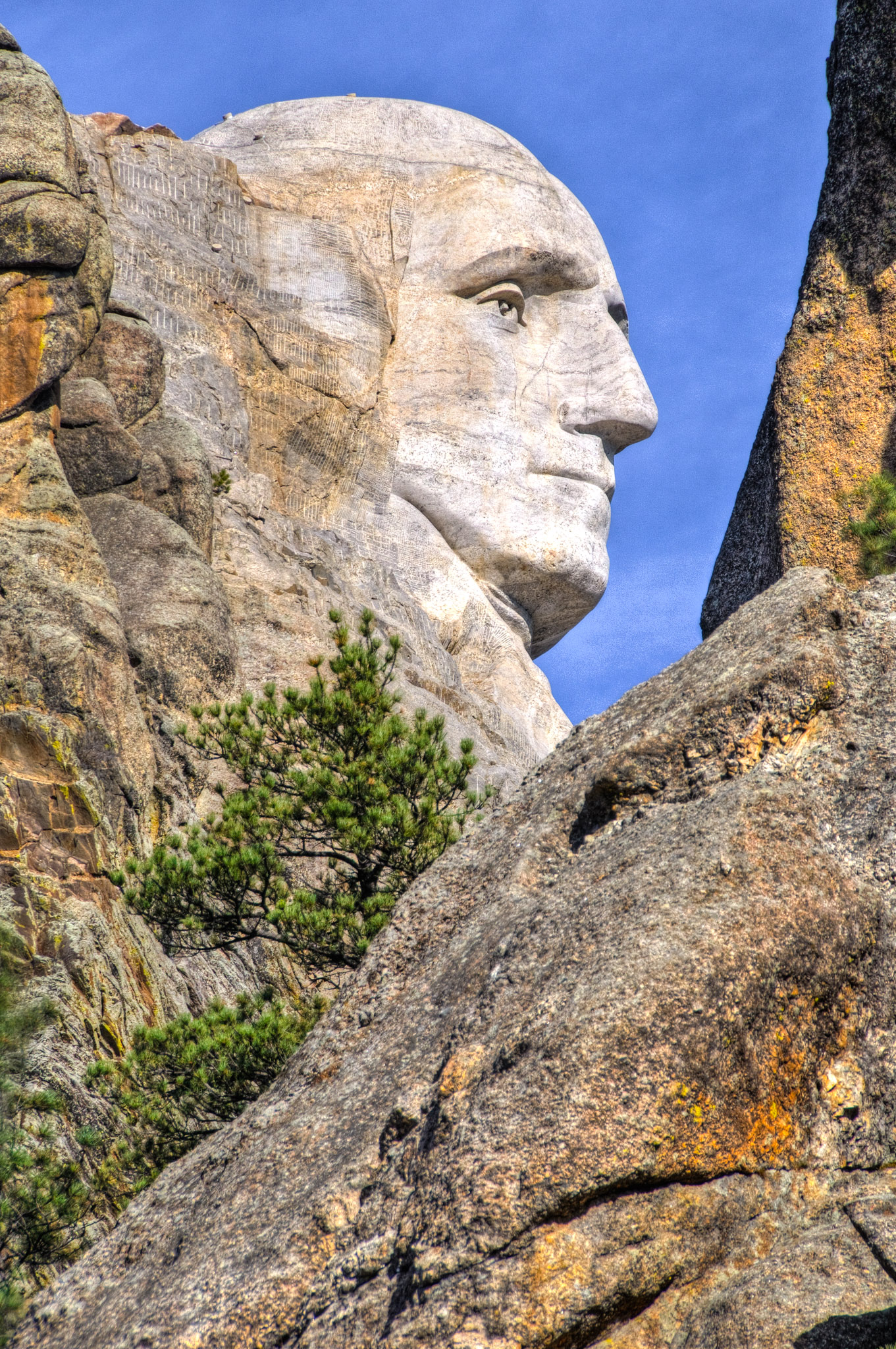 A close-up of the profile of President George Washington carved into Mt. Rushmore.