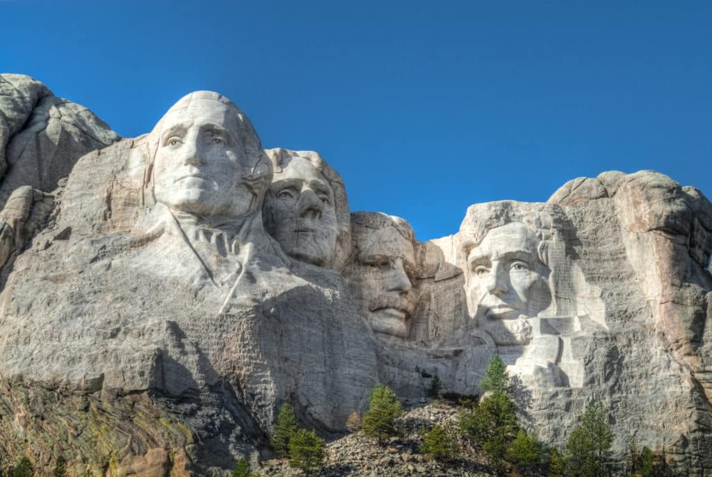 A view of Mount Rushmore in Mount Rushmore National Memorial in South Dakota.