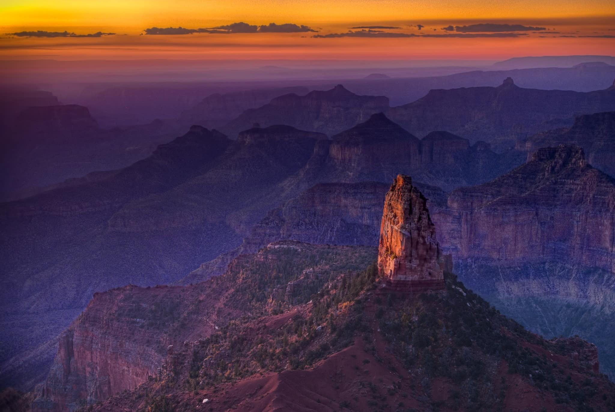 Sunrise view of Mount Hayden from Point Imperial. - Grand Canyon North Rim