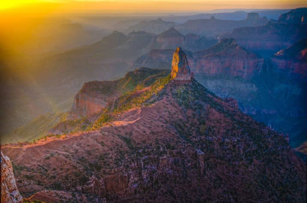 First light on Mount Hayden as seen from Point Imperial on the North Rim of the Grand Canyon. - Grand Canyon North Rim