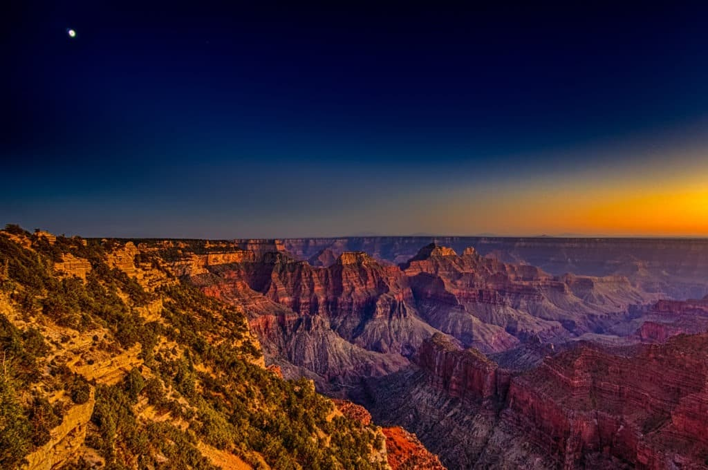 Dusk at the intersection of The Transept and Bright Angel Canyon on the North Rim of the Grand Canyon. - Grand Canyon North Rim