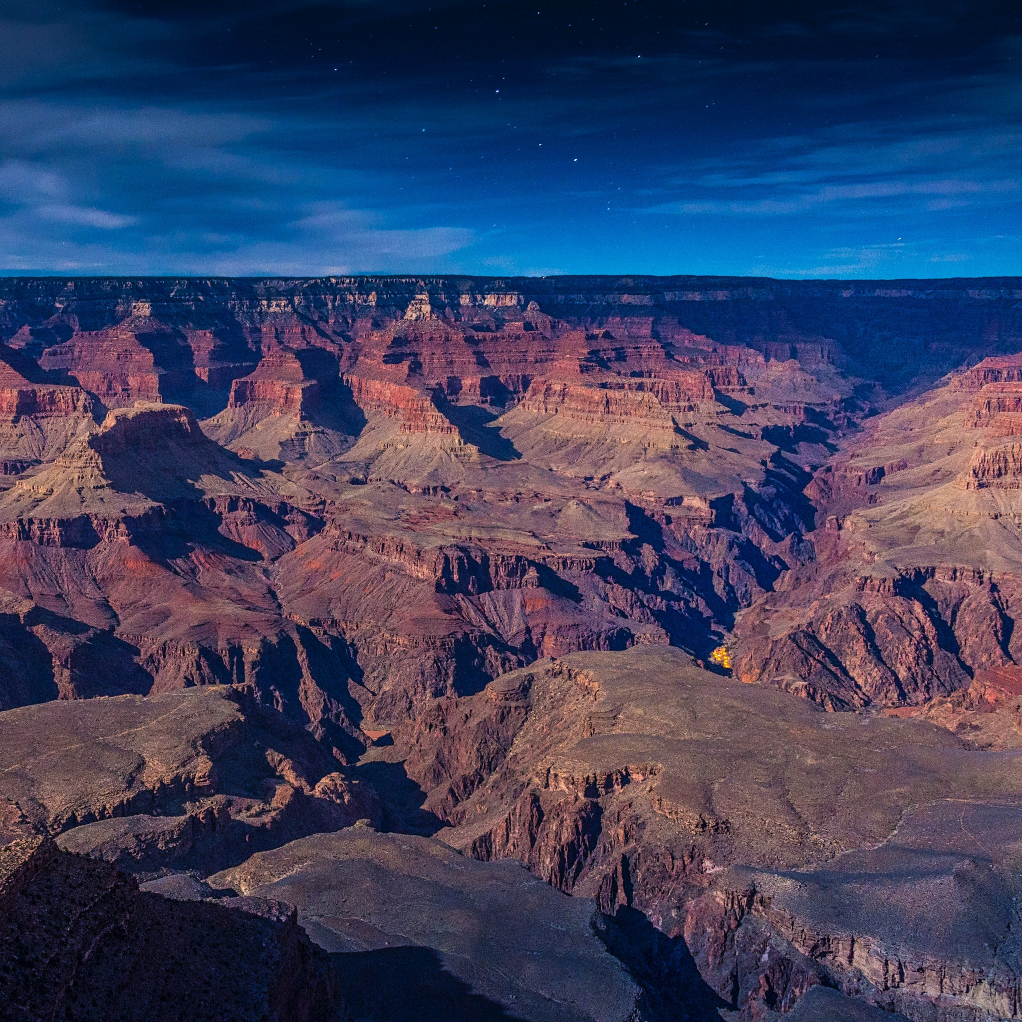 Phantom Ranch as seen from Yavapai Point on the South Rim of Grand Canyon National Park in Arizona.