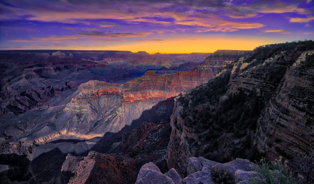 Sunrise at Yavapai Point on the South Rim of Grand Canyon National Park in Arizona.