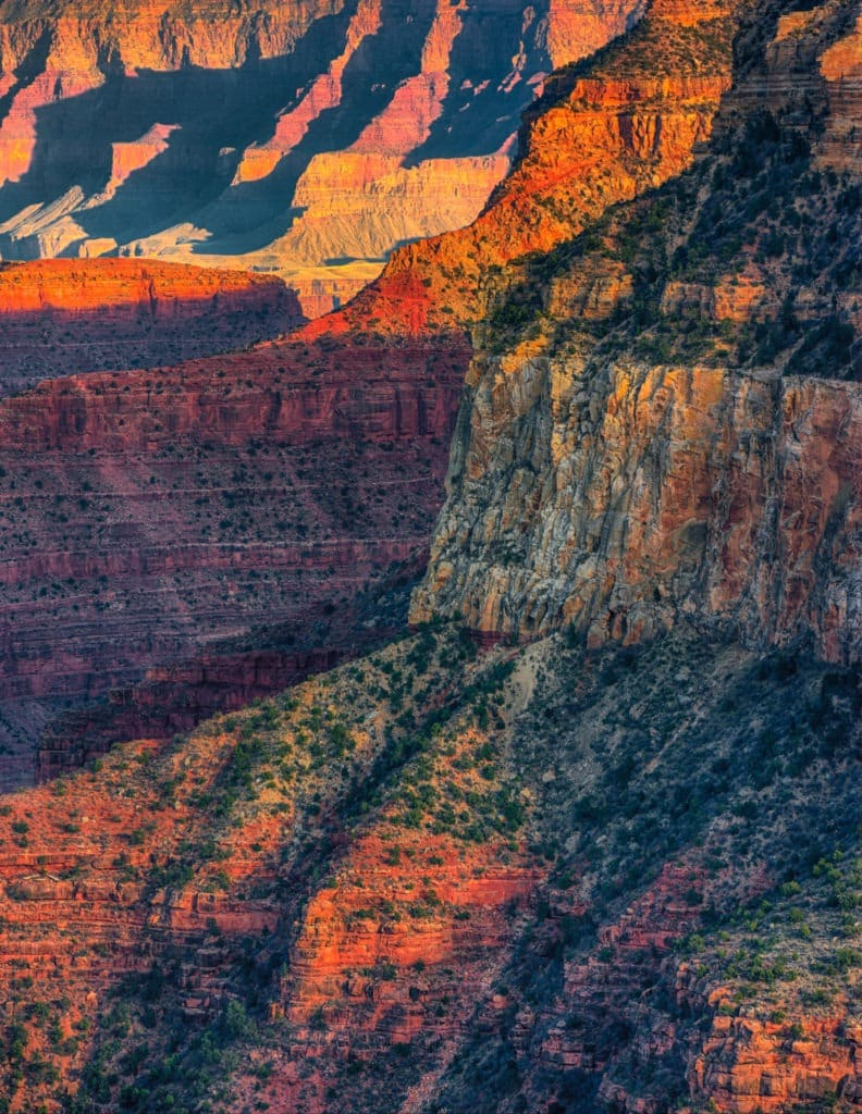 A view of the upper rock formations of the Grand Canyon as seen from the South Rim in Arizona.