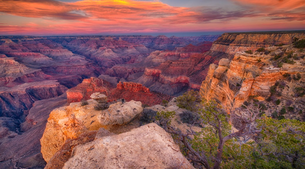 Sunset as seen from Maricopa Point on the South Rim of the Grand Canyon in Arizona.