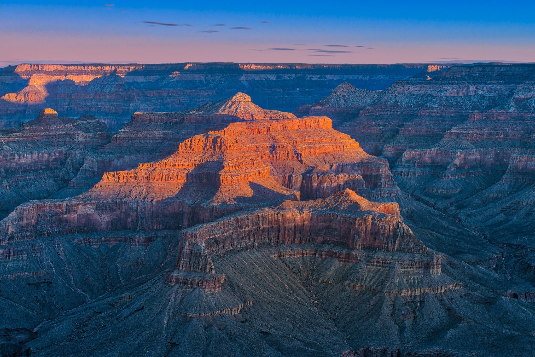 Sunrise at Hopi Point on the South Rim of the Grand Canyon in Arizona.