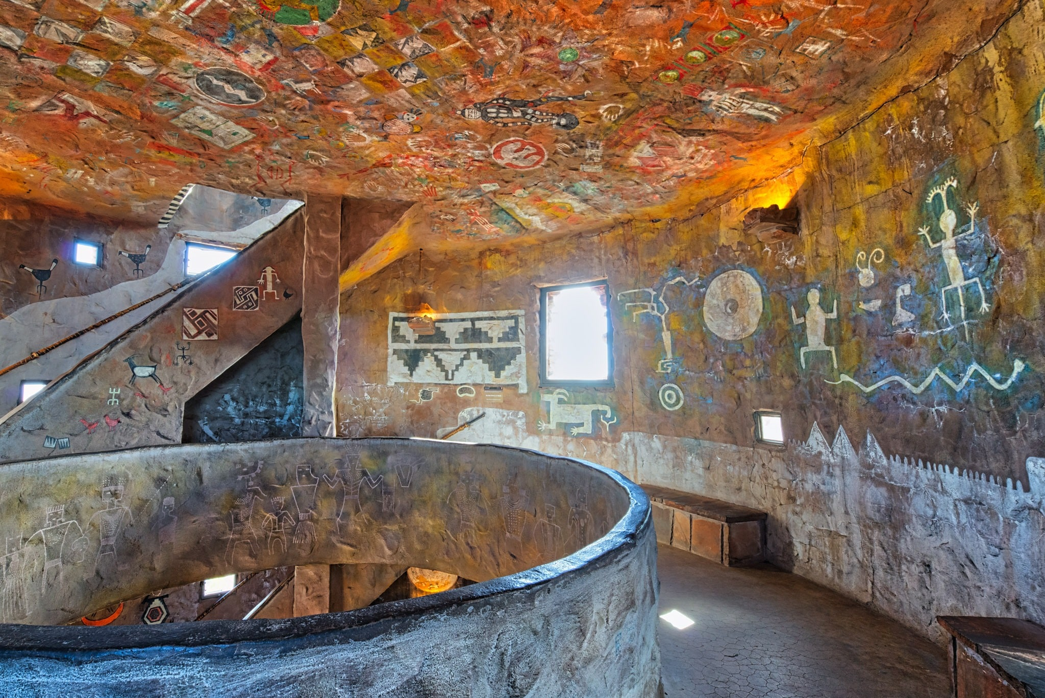 View of the interior of the Watchtower highlighting the reproductions of pictographs and petroglyphs found in the Grand Canyon region of Arizona.