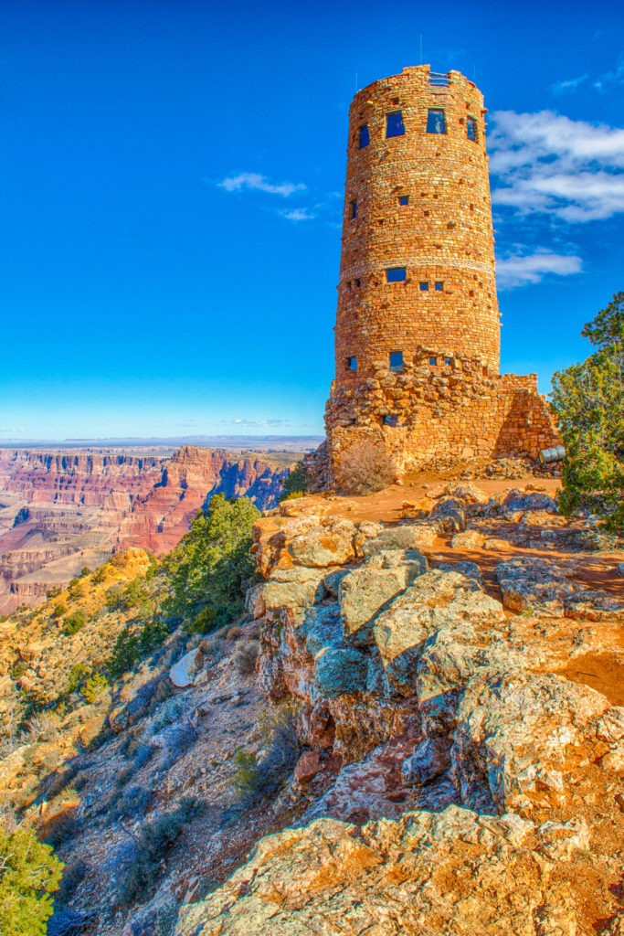 An exterior view of the Watchtower located near the Desert View Visors Center on the South Rim of the Grand Canyon in Arizona.