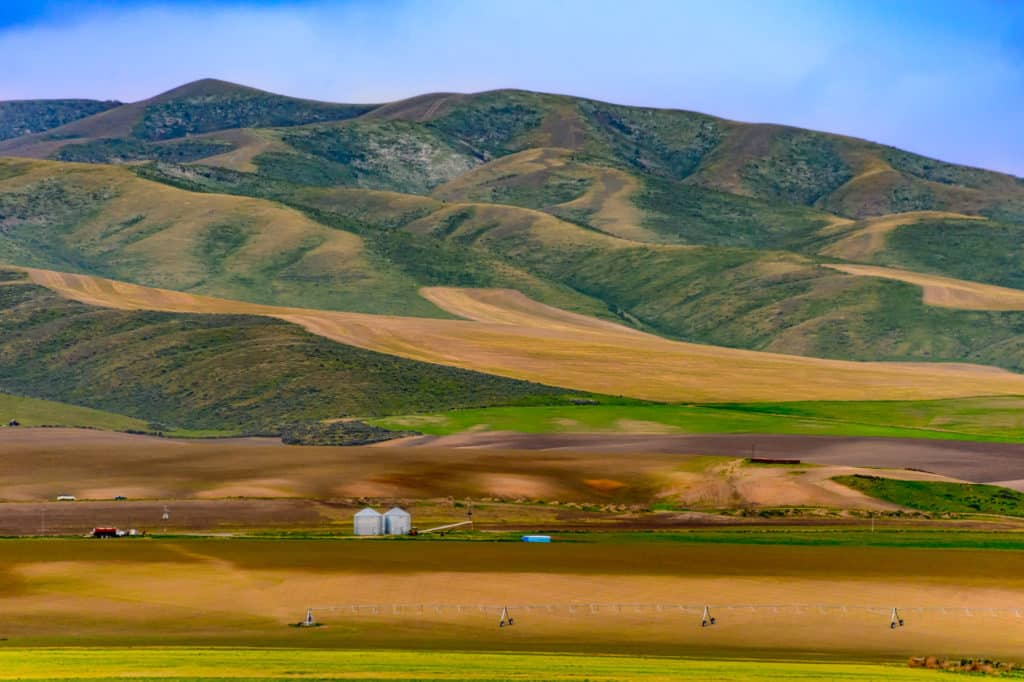 A farm along I-84 near the Utah-Idaho border, close to City of Rocks National Reserve.