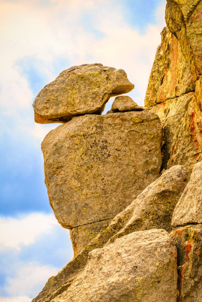 A close-up of the King of the Throne rock formation in City of Rocks National Reserve near Almo, Idaho.