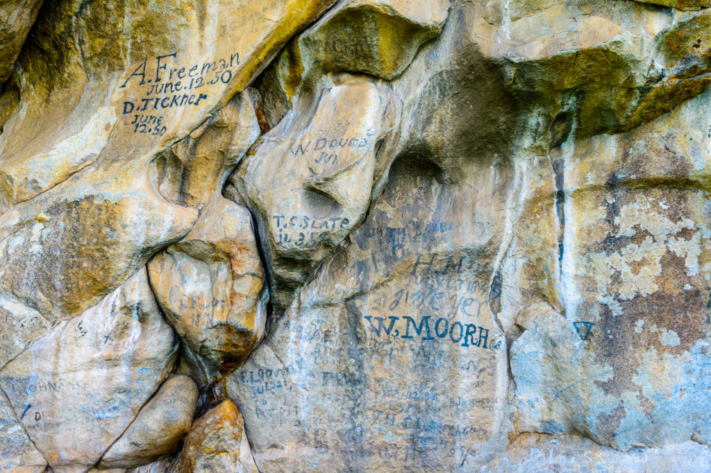 Emigrants make their mark on a rock in City of Rocks National Reserve on the California National Trail near Almo, Idaho.
