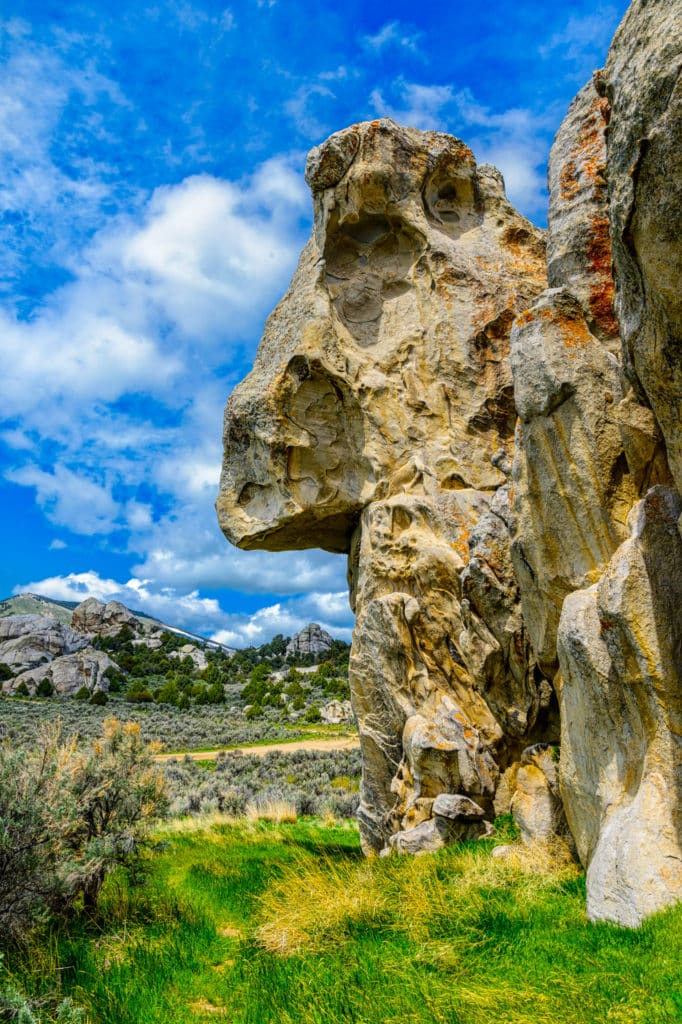 Emigrant Rock,or Camp Rock, in City of Rocks National Reserve, has the names of many emigrants who passed through in wagon trains on their way to California.