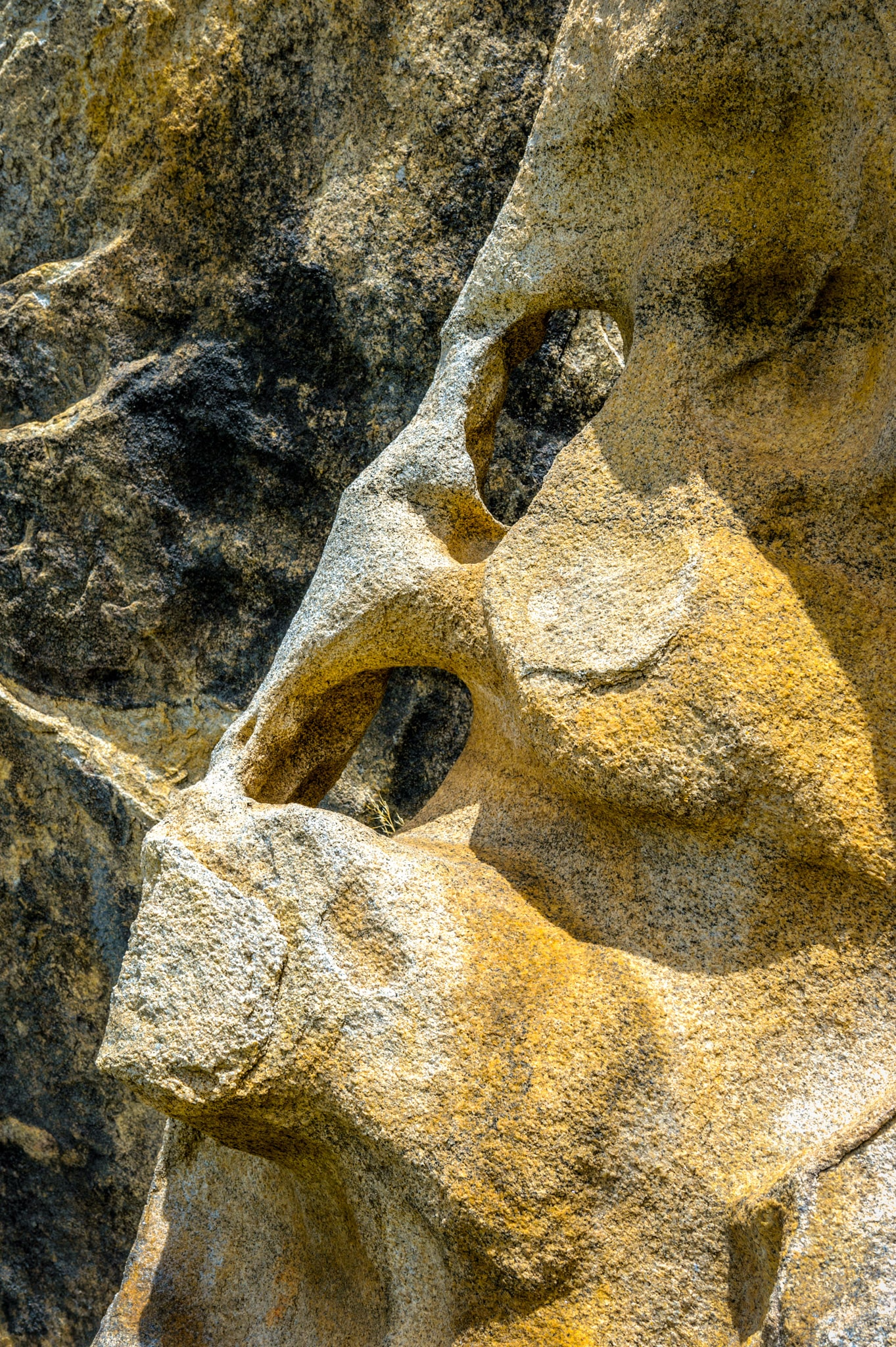 Darker rock shows through eroded holes in lighter granite in City of Rocks National Reserve inear Almo, Idaho.